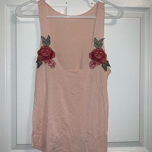Rose embroidered loose tank